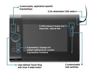 Features of the Wacom Intuos4 Medium Pen Tablet